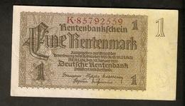 Pa. Germany WWII Third Reich Rentenbankschein 1 RENTENMARK 1937 8 Digit Serial # K 85792559 - [ 4] 1933-1945 : Third Reich