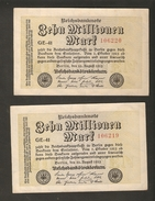 Pa. Germany Weimar Reichsbanknote 10 Millionen Mark 1923 Consecutive Serial # 106219 # 106220 - Watermark G/D In Stars - [ 3] 1918-1933 : Weimar Republic