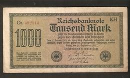 Pa. Germany Weimar Reichsbanknote 1000 Mark 15.9. 1922 - Watermark H - Ser. Oa 492114 Code KH - KM: 76f - [ 3] 1918-1933 : Weimar Republic
