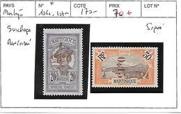 MARTINIQUE N° 106a.107a SURCHARGE RENVERSEE COTE : 170 € - Martinique (1886-1947)