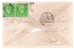 Deux 5c Vert Empire-franc Dentelé N°20.etoile.cad Paris Place De La Madeleine  1867 - Marcophilie (Lettres)