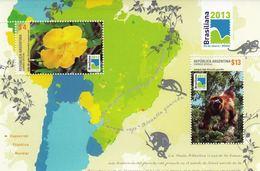 Argentina 2013 Monkeys Flowers SS MNH - Singes