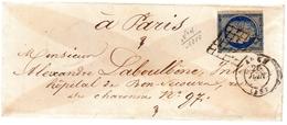 XERES 25c Bleu Repub-franc Non Dentelé N°4.GRILLE. NOIRE + Cad AGEN..cad PARIS.1851 - Marcophilie (Lettres)