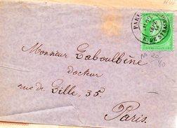 5c Vert Empire-franc Dentelé N°20.cad PARIS Rue De Strasbourg.1867 - 1849-1876: Période Classique