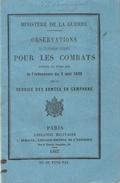 OBSERVATIONS 1867 INSTRUCTION COMBAT ORDONNANCE 1832 ARMEE EMPIRE NAPOLEON III - Livres