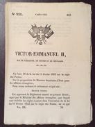 REGNO DI SARDEGNA  1852 DECRETO VITTORIO EMANUELE II SULLE POSTE IN FRANCESE STAMPATO TIP. CHAMBERY - Decreti & Leggi