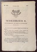 REGNO DI SARDEGNA  1850 DECRETO VITTORIO EMANUELE II SULLE POSTE IN FRANCESE STAMPATO TIP. CHAMBERY - Decreti & Leggi