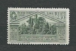 ITALIA 1930 - Bimillenario Della Nascita Di Virgilio - 10 L. + 2,50 Verde Oliva - MH - Sa 290 - Nuovi