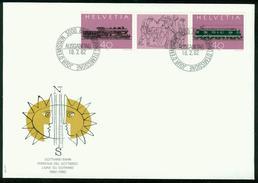 FD Schweiz FDC 1982 - MiNr 1214-1215 Dreierstreifen Zierfeld - St.-Gotthard-Bahn - FDC