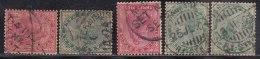 5 Diff., TPO, Railway Postmark On QV Series,  British India, - 1882-1901 Empire