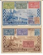 ALGERIE  - 1930 - SERIE COMPLETE VIGNETTES AVIATION TUNIS à ALGER Sur 2 CARTES De L'EXPO De L'AFRIQUE DU NORD - Erinofilia