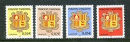 Andorre Français ; 2002,TP N°555 à 558,armoiries NEUFS**,MNH - Französisch Andorra