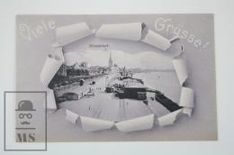 Antique Germany Viele Grüsse / Gruss Aus Dusseldorf - Harbour And Boats - Duesseldorf