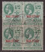 Montserrat 1917-18 War Stamp, Block, Cancelled, CTO, Sc# / SG 60 - Montserrat