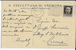 STORIA POSTALE REGNO - CARTOLINA INTESTATA DA CREMONA 23.08.1936 - 1900-44 Vittorio Emanuele III