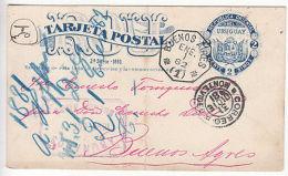 Uruguay: Printed Postcard, Montevideo To Buenos Aires, 31 Dec 1881-1 Jan 1882 - Uruguay