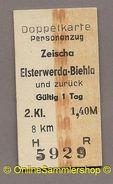 Pappfahrkarte - Reichsbahn --->  Zeischa - Elsterwerda Biehla  (Doppelkarte) - Bahn
