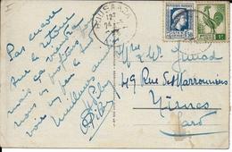 ALGERIE - 1946 - MARIANNE + COQ D'ALGER - CARTE De BOUSAADA => NIMES - Algérie (1924-1962)