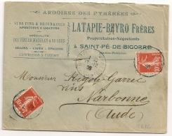 SAINT PE DE BIGORRE Hautes Pyrénées. ARDOISES DES PYRENEES. Vins Fins. Spiritueux, Liqueurs. 1908 - Poststempel (Briefe)