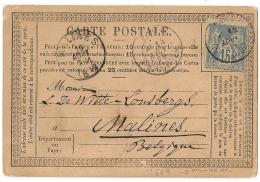 Sage 15c BLEU N° 90  SEUL Sur CARTE POSTALE Pour Malines. Belgique. 14 Aout 1878. PARIS R. D'ENGHIEN. - 1876-1898 Sage (Type II)