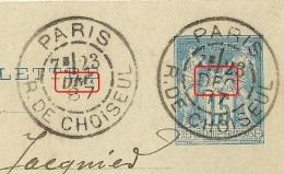DAGUIN Blocs Dateurs Différents, PARIS R. De CHOISEUL Sur CARTE LETTRE Au Type SAGE. TB FRAPPE. - 1877-1920: Semi Modern Period