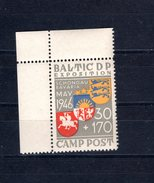 8963 Baltic DP Exposition Camp Post  Schongau, Mnh, EM Aus Bogen Oben Links - Deutschland