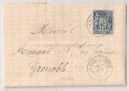 Type 17 LA MURE D'ISERE Sans Millésime Sur LAC SAGE Pour Grenoble. 31 JUILLET 1878. - 1876-1898 Sage (Type II)