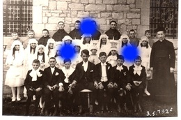 SAINT HADELIN OLNE 1925 CARTE PHOTO COMMUNIANTS Curé Joseph  DELHEZ / RARE - Olne