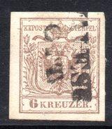 AUSTRIA 1850 , 6 Kr Usato N. 4 . - 1850-1918 Empire