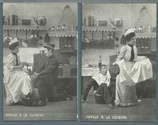 CPA - JEUNE FEMME ET MILITAIRE - IDYLLE A LA CUISINE - 5 CARTES - Femmes