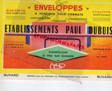 42 - ROANNE- BUVARD PAPETERIE ETS PAUL DUBUIS- ENVELOPPES IMPRIMERIE - - Stationeries (flat Articles)