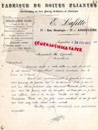 16 - ANGOULEME - FACTURE MANUSCRITE SIGNEE-E. LAFITTE-FABRIQUE BOITES PLIANTES-PAPETERIE IMPRIMERIE-77 RUE MONLOGIS-1912 - Stationeries (flat Articles)