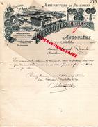 16 - ANGOULEME -FACTURE MANUFACTURE BEAUMONT PAPIERS PAPETERIE IMPRIMERIE-COUSSOT DESBORDES- A M. LAROCHE MOUTHIERS-1908 - Stationeries (flat Articles)