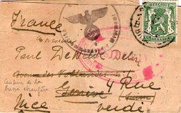 CACHET CENSURE SUR BANDE DE JOURNAL PROVENANCE BELGIQUE REEXPEDIEE DE GENEVE POUR LA FRANCE - WW II