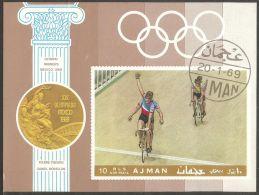 Ajman 1969 Mi# Block 77 B Used - Imperf. - Cycling / Tandem Racing / Summer Olympics, Mexico '68 - Zomer 1968: Mexico-City