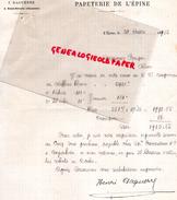 16 -  SAINT SEVERIN-  LETTRE MANUSCRITE SIGNEE  PAPETERIE IMPRIMERIE DE L' EPINE - J. DAGUERRE 1902 - Stationeries (flat Articles)