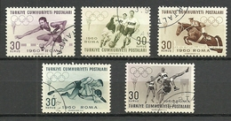 Turkey; 1960 17th Summer Olympic Games, Rome (Complete Set) - Gebraucht