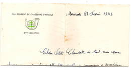 Lettre  Entete 7 ème Régiment Chasseurs Afrique 3 Esc - Vieux Papiers