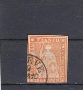 Suisse - Helvetia Assis - Y.T. N° 29 - Fil De Soie Vert