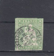 Suisse - Helvetia Assis - Y.T. N° 30 - Fil De Soie Vert