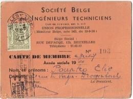 Carte De Membre Avec Timbre. Société Belge Des Ingénieurs Techniciens. Bruxelles. 1944. - Documents Historiques