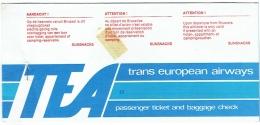 Ticket/Billet D'Avion. TEA, Trans European Airways. Alicante/Bruxelles. 1978. - Billets D'embarquement D'avion