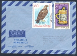 Hungary 1976 Air Mail Cover: Fauna Eagle Adler Aigle Imperial Eagle - Adler & Greifvögel