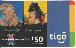 HONDURAS - Christina Aguilera, Pepsi, Tigo Prepaid Card L.50, Exp.date 09/07, Used - Honduras