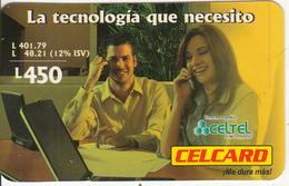 HONDURAS - Couple On Phone, Celtel Prepaid Card L.450, Exp.date 02/05, Used - Honduras