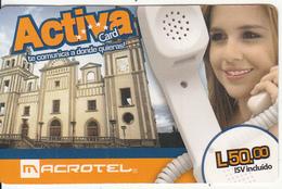 HONDURAS - Girl On Phone, Macrotel Prepaid Card L.50, Used - Honduras