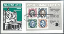US  1989   World Expo FDC Lincoln Cachet With 90c Lincoln Block Souv Sheet - Event Covers