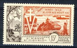 S. Pierre Et Miquelon Posta Aerea 1954 N. 22 Fr 15 Sbarco In Normandia  MVLH Catalogo € 21 - Posta Aerea