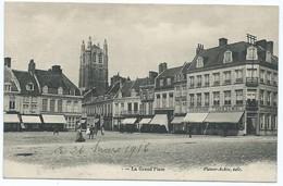2563 - Bergues 59 Nord - La Grand'Place Grande Place Edit Patoor Achte 1916 Censure Militaire WW1 Avallon Gueniffey - Bergues
