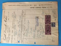 4-1-1941-MILANO-DITTA FRATELLI DONISETTI-FABBRICA VELOCIPIDI E FURGONCINI-FATTURA-VALORI FISCALI - 1900-44 Vittorio Emanuele III